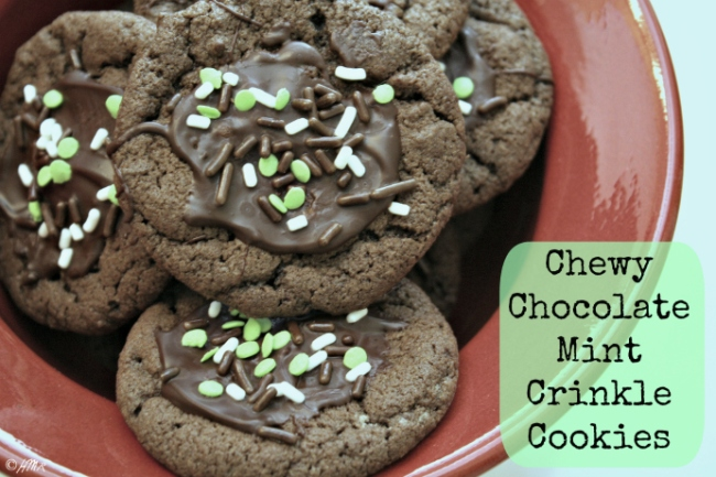 Chewy Chocolate Mint Crinkle Cookies
