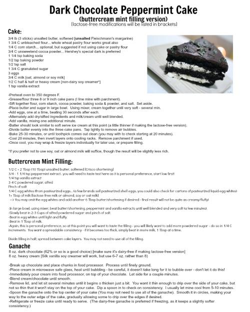 dark chocolate peppermint buttercream cake.