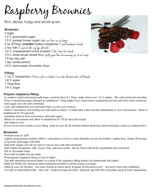 gooey raspberry brownie recipe (whole grain!)
