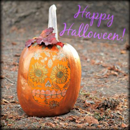 Happy Halloween! ...painted metallic sugar skull pumpkin