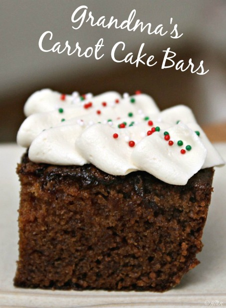 Grandma's Carrot Cake Bars - made with baby food!  (Easily made lactose or dairy free).