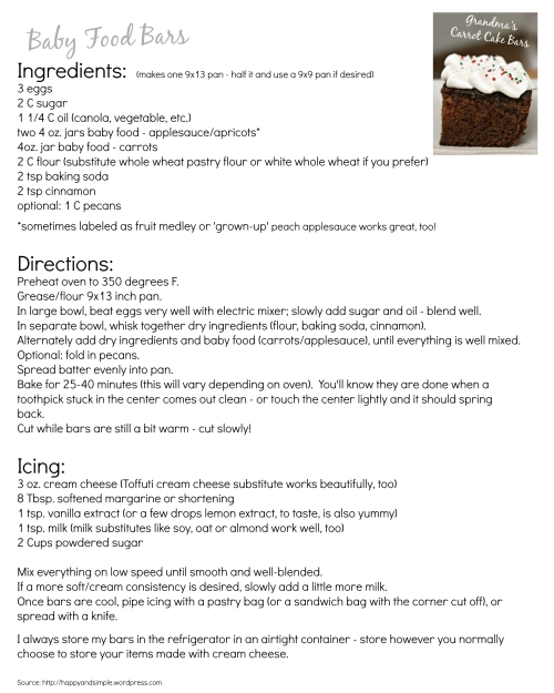 Grandma's Carrot Cake Bars… made with baby food! (recipe easily made lactose or dairy free)
