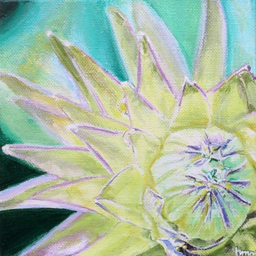 'Slow Growth', 6x6 acrylic botanical painting by Heather M. Roberts