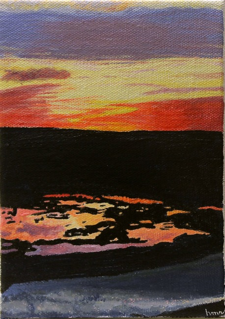 'Sunset Pause', acrylic painting by Heather M. Roberts