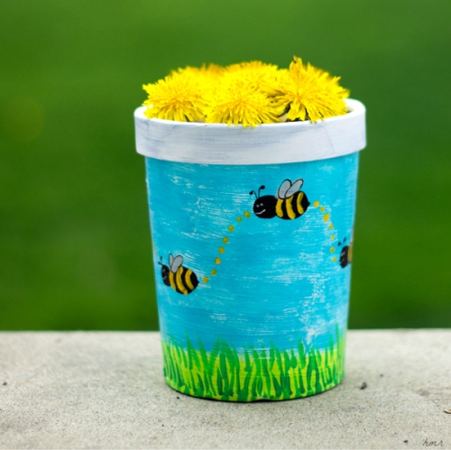 May Day basket - repurposed ice cream container